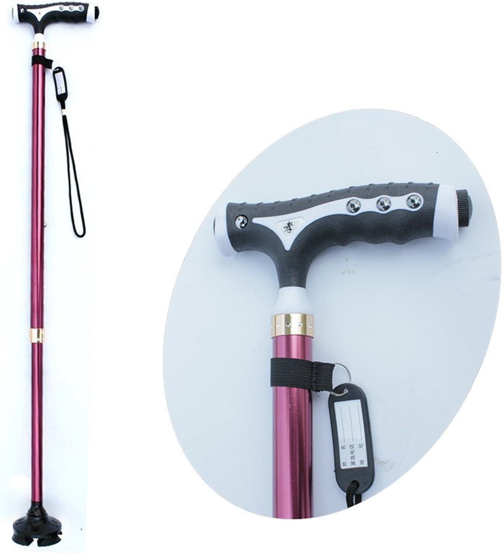 Outdoor Elderly Walking Stick,XIHAA Small Four Feet Crutch UltraLight Adjustable Portable Aluminum Alloy AntiSkid