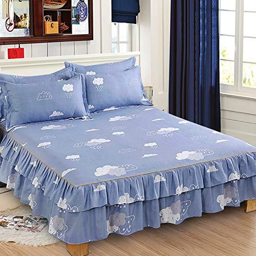 Cosiki Juego de sábanas, Falda de Cama Transpirable, Fundas de Almohada de algodón,(Bed Skirt 150 * 200cm*1 Pillow Cover: 48 * 74cm*2)