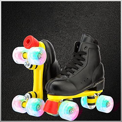 Patines de cuatro ruedas para mujer, de piel sintética, con parte superior alta, patines de doble fila, ajustables en cuatro ruedas para exteriores