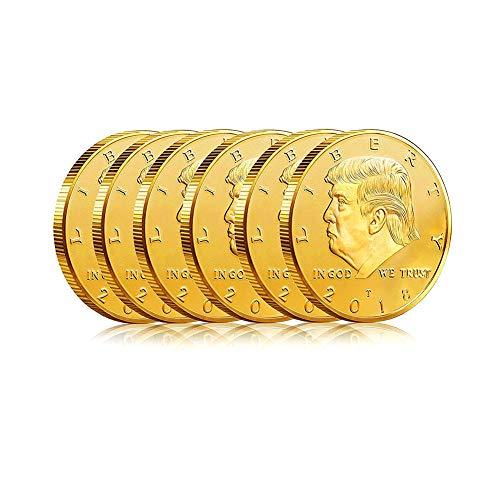 6 Pack Donald Trump Goldmünze, 2018 vergoldete Sammelmünze und Etui inklusive, 45. Präsident