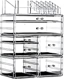 Extra Large Stackable Makeup Organizer Storage Bins Drawers For Bathroom Under Sink,Clear Containers for Organizing Medicine Skincare Skin Care Cosmetic Display Cases,Clear By Cq acrylic