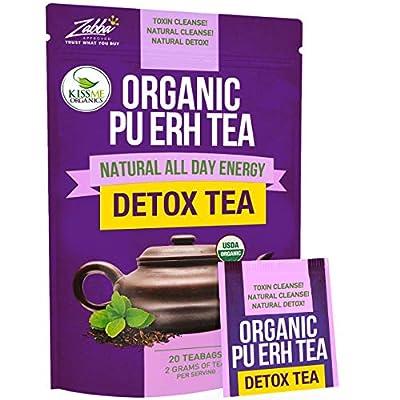 Kiss Me Organics Pu-erh Detox Tea - Premium Quality Fermented Organic Pu-erh Tea - Energizing, Detoxifying & Delicious - 20 Teabags by Kiss Me Organics
