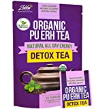Organic Puerh Detox Tea - Premium Quality Fermented Puerh Tea - Energizing, Detoxifying and Delicious - Aged Black Yunnan Tea - 20 Teabags