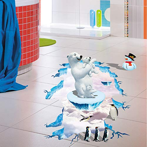 Fandhyy Creative Polar Bear 3D Wall Stickers Muraux Floor Vinyl Stickers Home Decoration Accessories Wall Stickers