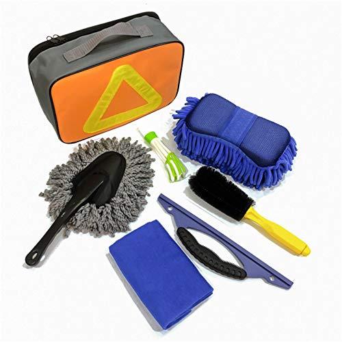 Honyan Kit de 7 herramientas de limpieza de coche con cepillo de neumáticos, plumero, cepillo de aire acondicionado, toalla de lavado de coche, paño de lavado de coche,bolsa de almacenamiento