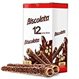 Biscolata Nirvana Rolled Wafers Snacks with Premium Chocolate Cream Filled - Hazelnut - Pack of 12
