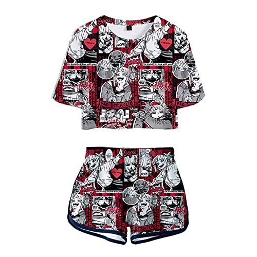 WWZY Himiko Toga Impresos 3D Chándal Ropa Deportiva Camiseta My Hero Academia Cross My Body Cosplay Top Y Pantalones Cortos Traje para Mujer Fanáticos del Anime,Rojo,Large