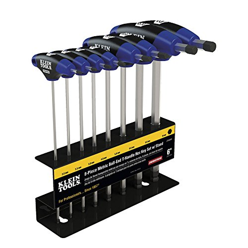 Klein Tools JTH68MB Hex Key Kit with Stand, Ball End T-Handle, 6-Inch Metric, 8-Piece