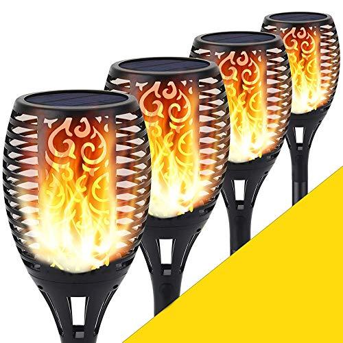 Shinmax Solarleuchte Garten Fackeln,96 LED Solar Fackel mit IP65 Wasserdicht Solar Flammen Solar Garten Beleuchtung Garten Licht Automatische EIN/Aus Weihnachten Deko Straßenlaterne für Festival