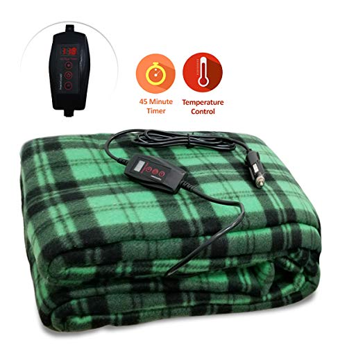 Zone Tech Car Heated Travel Blanket – Green Plaid Premium Quality 12V Automotive Comfortable Heating Car Seat Blanket Great for Summer