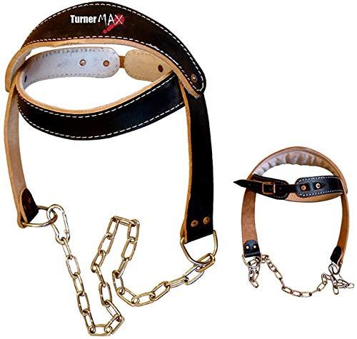 TurnerMAX Rindleder-Leder-Kopfgeschirr mit Kette Schwarz