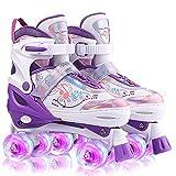 Roller Enfant Fille 4 Roues Patins à roulettes Réglables Roller Quad Respirant Et Confortable avec Roues Allumées Roller Enfant Garcon Evolutif