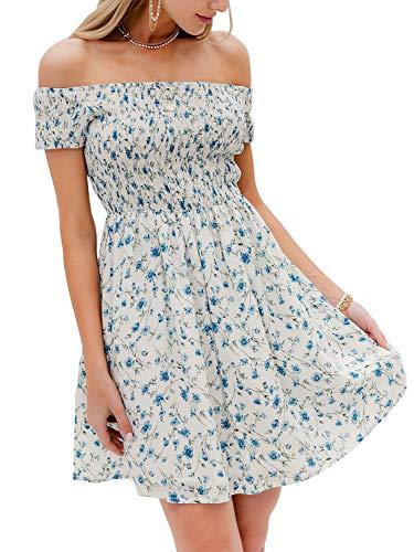 BerryGo Women's Vintage Off Shoulder High Waist Floral Print Beach Mini Dress White