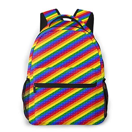LNLN lässiger Rucksack grünLesmus Rainbow Casual Backpack Waterproof Computer Bag School Bag Travel Bag
