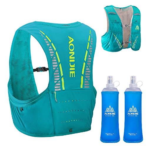 TRIWONDER 5L Trinkrucksack mit Trinkblase, Ultraleicht Laufrucksack für Marathon, Bergläufe, Radfahren (Mintblau - mit 2 weichen Wasserflaschen, M/L - 83-92cm)