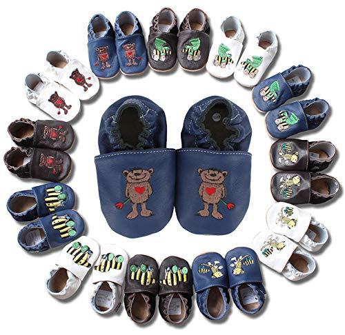HOBEA-Germany Krabbelschuhe Leder, Baby & Kinder Hausschuhe für Mädchen und Jungen, Janosch Babyschuhe, 20/21 EU, Janosch Bär Blau