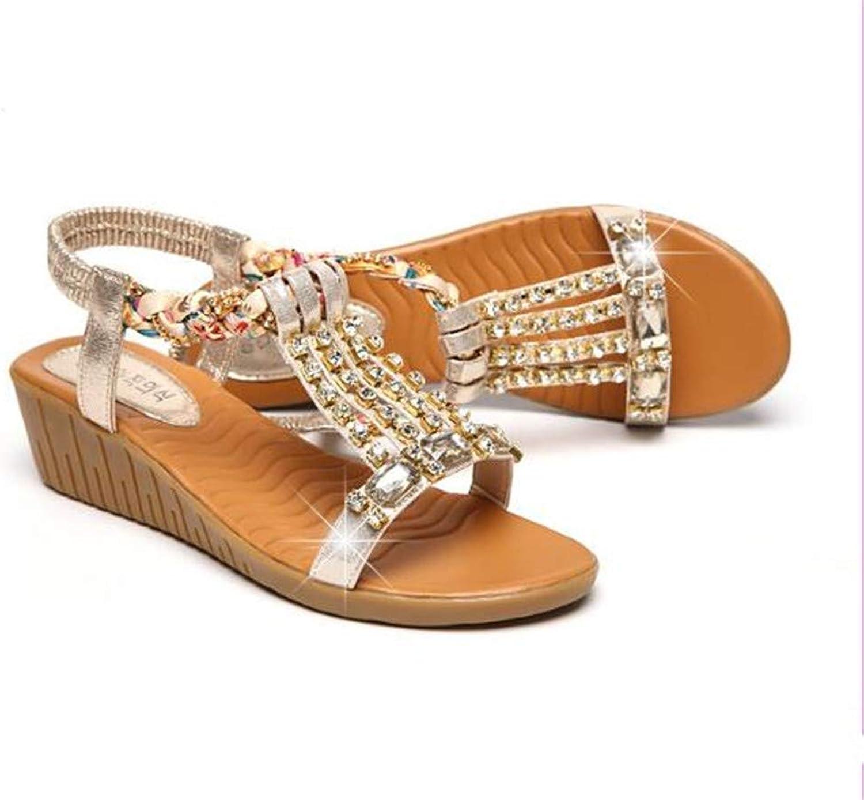 HHEQ Women's Summer Bohemian National New Sandals Rhinestone Wedge Fashion shoes
