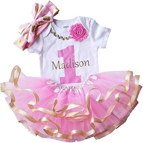 1st Birthday Girl - Pink Gold Personalized Outfit(18M Short Sleeve)