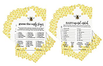 Bumblebee Baby Shower Game Bundle  25 Guests  Set Includes Baby Animal Matching Game – Candies Guessing Activity Cards for Gender Reveal Mama to Bee Yellow and Black  5x7 Inches  Paper Clever Party