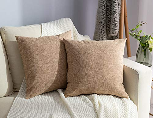Stellhome Linen Throw Pillow Covers Square Solid Burlap Cushion Covers for Bed Couch Sofa Bench, 18 x 18 inch (45 cm), Natural Linen, Set of 2