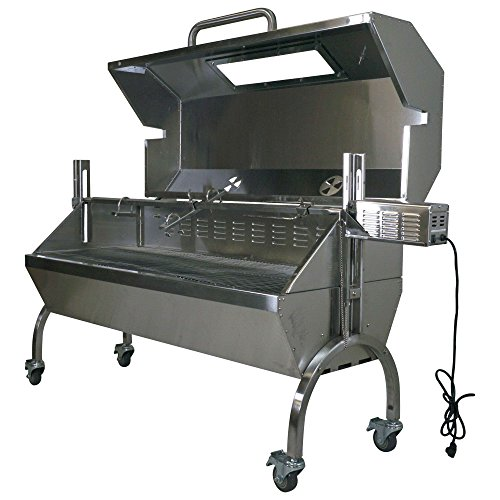 Titan Attachments Rotisserie Grill Roaster Spit Glass Hood Stainless Steel 25W 125lb...