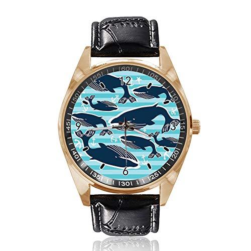 Reloj de Pulsera analógico de Cuarzo con diseño de Ballenas y Anclas y Esfera Dorada clásica de Cuero para Hombre y Mujer