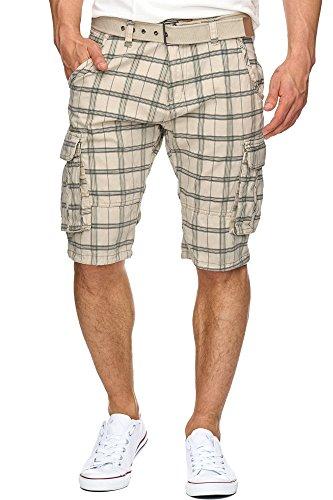 Indicode Herren Monroe Check Cargo Shorts kariert mit 6 Taschen inkl. Gürtel aus 100{7e37fa5ff23b09a4f04325cc56b4bd50259010092ecdca97a9b34fea17087f82} Baumwolle | Kurze Hose Bermuda Sommer Herrenshorts Short Men Pants Cargohose kurz f. Männer Fog L