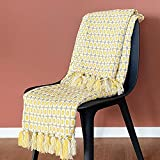 OFADD Knit Throw Blankets for Sofa Couch with Tassels Solid Acrylic Woven Decor Blanket Soft Warm Throws Indoor Bedroom Decorative 50x63 Inches Yellow