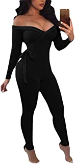 Women Off Shoulder Ribbed Knit Bodycon Long Pants Jumpsuit Romper