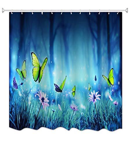 A.Monamour Cortinas de Ducha Mariposas De Hadas En El Bosque Místico Fondos Azules Flores...