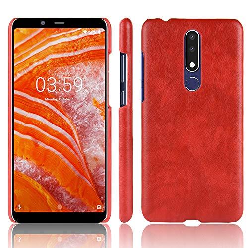 Coque Funda Nokia 3.1Plus,Textura de Lichi Carcasa de telefono para Nokia 3.1Plus(Rojo)