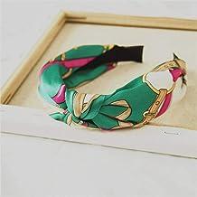 ASDAF Banda Punto de época Orejas de Conejo Diadema Imprimir anudadas para Las Mujeres Flor de Bohemia Imprimir Peinado Cabeza Banda Scrunchy,Verde