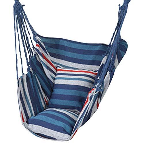 Hammock - Hamaca para colgar en el interior del balcón, cuerda para colgar en casa, sillón colgante para jardín, color azul y blanco