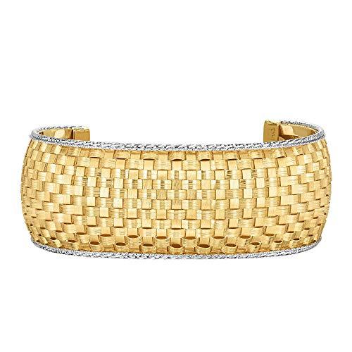 14K Gelb und Weiß Gold Basket Weave Manschette Armreif Armband