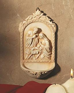 Catholic & Religious Nativity Holy Water Font. Material: Resin Size: 6 1/2