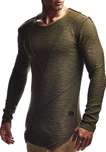Leif Nelson Herren Pullover Hoodie Kapuzenpullover Sweatjacke Longsleeve Sweatshirt Jacke Basic Rundhals Langarm Oversize Shirt Hoody Sweater LN6323; Größe L; Khaki