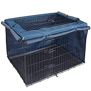 Explore Land Dog Crate Cover for 24 30 36 42 48 Inches Wire Cage, Heavy-Duty Lattice Pet Kennel Covers Compatible with 1 2 3 Doors Standard Metal Crate