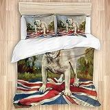 SUGARHE Ropa de Cama Juego de Funda nórdica,Bulldog Blanco Perro la Escuela Inglesa afuera al Aire Libre Collar pie Bandera británica árboles Nubes,Funda nórdica de Microfibra(140x200cm,50 * 80cm)