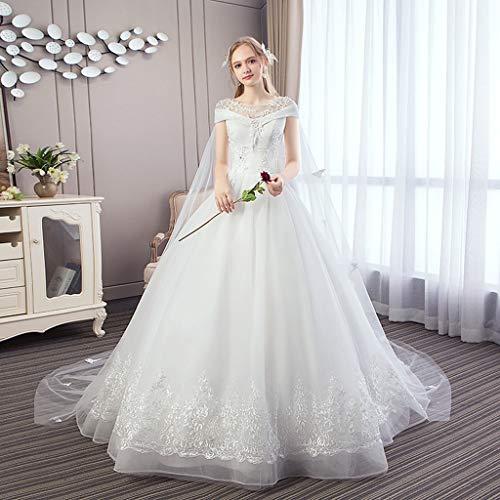 FAPROL Braut Spitze Brautkleider Romantisch Ärmellos Applique Bestickt Weiß Abendkleid Für Kapelle Hochzeit 14 US
