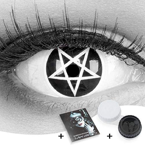 Funnylens 1 Paar farbige schwarze Crazy Fun Pentagram Jahres Kontaktlinsen.Topqualität zu Fasching und Karneval mit gratis Kontaktlinsenbehälter ohne Stärke!