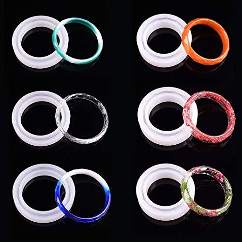 iSuperb 6 Stück Armreif Silikonformen Epoxidharz Formen Diamantschliff Armband Gießform für DIY Schmuck Armband (6 Formen)