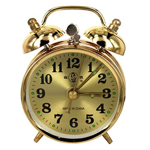 ZhenHe El Oro de Doble Campana Fuerte Alarma Manual del Reloj de Viento de hasta Metal Retro del Silencio Puntero Reloj Lindo de Noche Inicio Decoraciones Adecuado para el hogar, Oficina, niños.