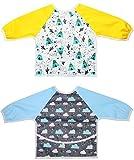 Little Jump 2 Pack Lätzchen mit Ärmeln Baby Lätzchen Ärmellätzchen Wasserdicht mit … (teepie & regentropfen)