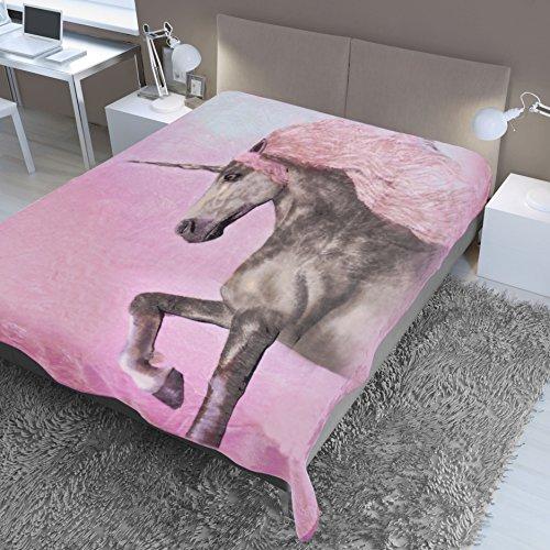 Dreamscene - Manta de visón con Estampado de Unicornio, Color marrón y Rosa, 150 x 200 cm