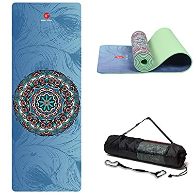 """wwww PIDO Suede TPE Yoga Mat Eco Friendly Non Slip Yoga Mat by SGS Certified with Carrying Strap and Bag,72""""x24"""" Extra Thick 1/4"""" for Yoga Pilates Fitness Exercise,Best Gifts for Christmas in Holiday"""