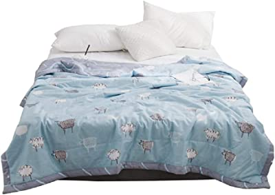 NATURETY 100% Cotton Bed Quilt,Thin Comforter for Summer or Spring (Queen/Full, Blue)