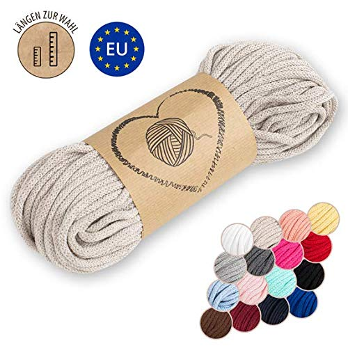 Amazinggirl Hilo Macrame 5 mm trapillo bobinas - Cuerda Algodon Cordon para Trenzado Tejer a Crochet Manualidades Beige