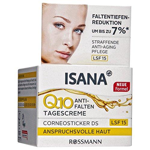 ISANA Q10 Anti-Falten Tagescreme 50 ml für anspruchsvolle Haut, Corneosticker DS,...