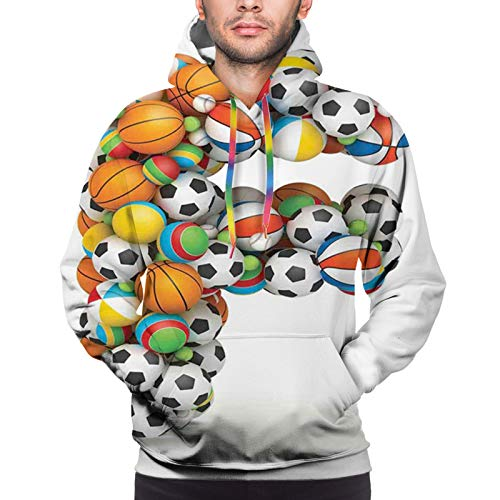 Men's Hoodies Sweatershirt, Shape of Letter F with Colorful Balls Alphabet Design Sporting Goods Composition S