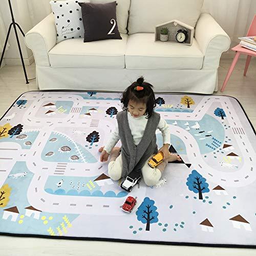 Loartee Teppich, Kinderteppich, korallenrote Samtmatte, als Krabbeldecke fürs Kind,Straßenteppich, Größe: 150 x 200 cm
